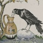 The Crow and the Pitcher, illustrated by Milo Winter in 1919, public domain