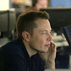 "Elon Musk in Mission Control at SpaceX by Emily Shanklin ""Wikimedia Commons"""