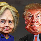 By DonkeyHotey (Hillary Clinton vs. Donald Trump - Caricatures) [CC BY-SA 2.0 (http://creativecommons.org/licenses/by-sa/2.0)], via Wikimedia Commons.
