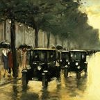 Lesser Ury, Berlin Evening: Street With Cars, circa 1920. In the public domain via Wikimedia Commons.