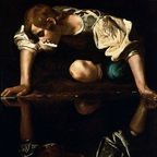 Narcissus by Caravaggio, public domain, no attribution required