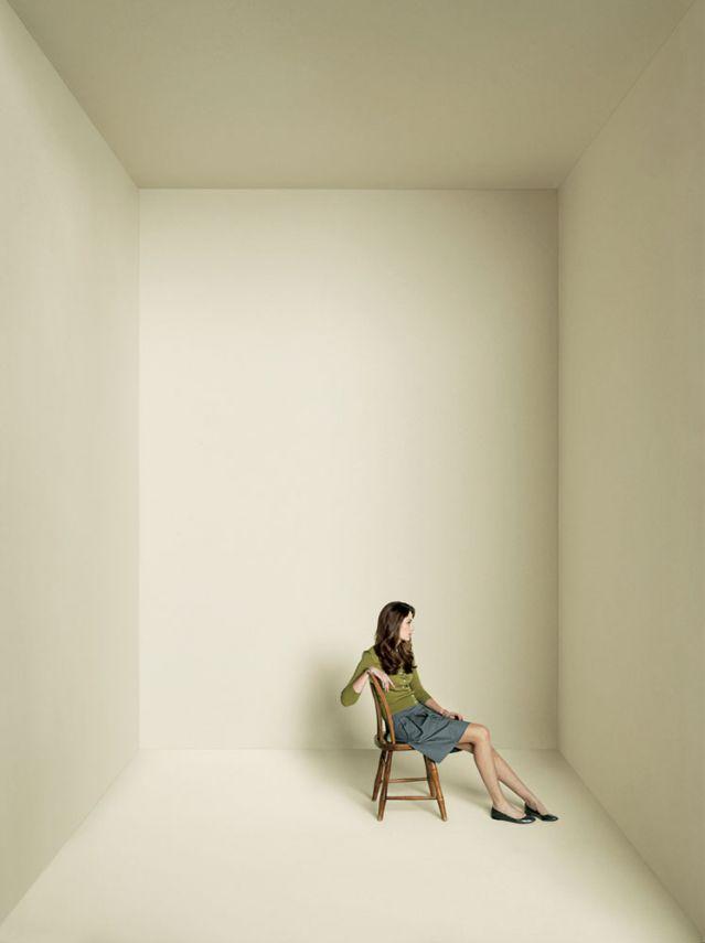 Woman in an empty box