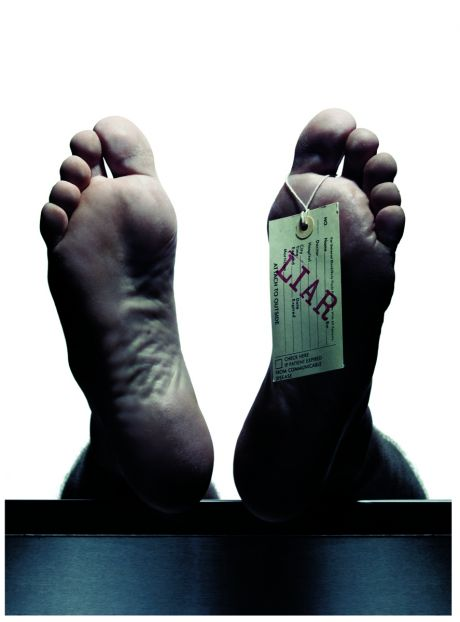 Cadaver feet with Liar tag