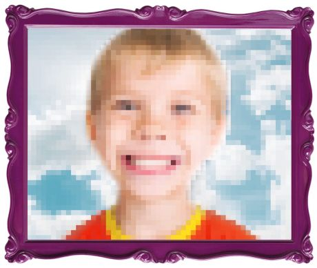 Pixelated child smiling