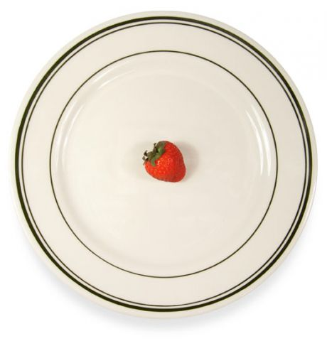 Plate with strawberry on it