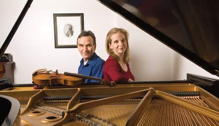 Siblings, Orli and Gil Shaham at the piano