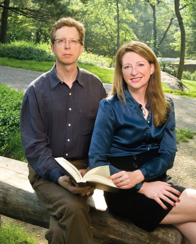 Siblings Sophie Littlefield and Mike Wiecek read a book together