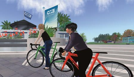 Two Avatars in Second Life on bikes at Club One Island