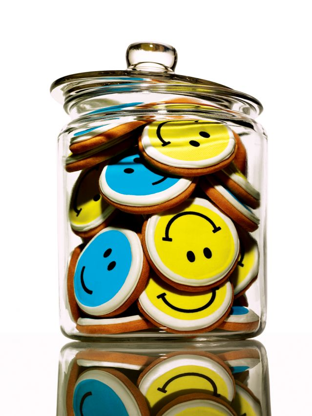 Cookie jar full of smiley face cookies