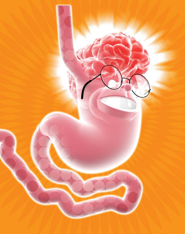 Stomach w/ a brain and glasses on