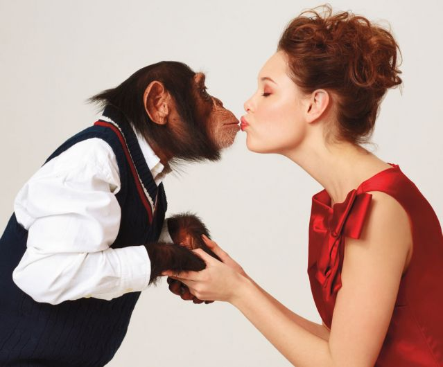 Male chimp and Woman kissing
