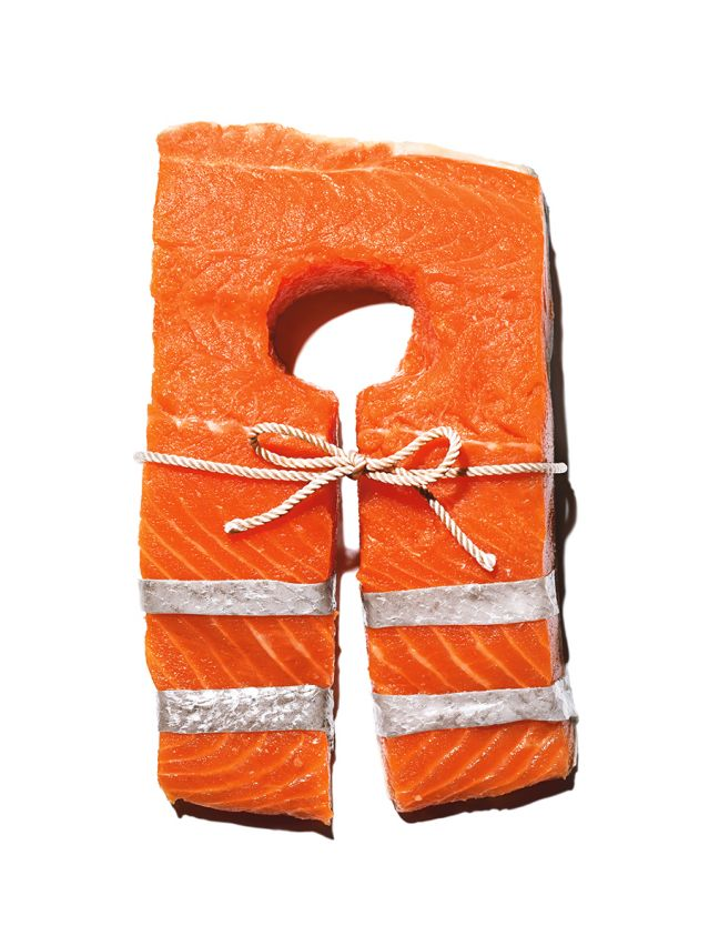 Salmon fillet in the shape of a life jacket