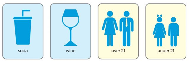Puzzle cards with icons for soda, wine, adults and children