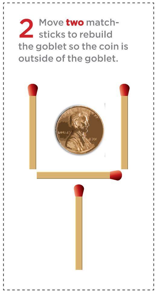 Match sticks shaped like a football goal and penny