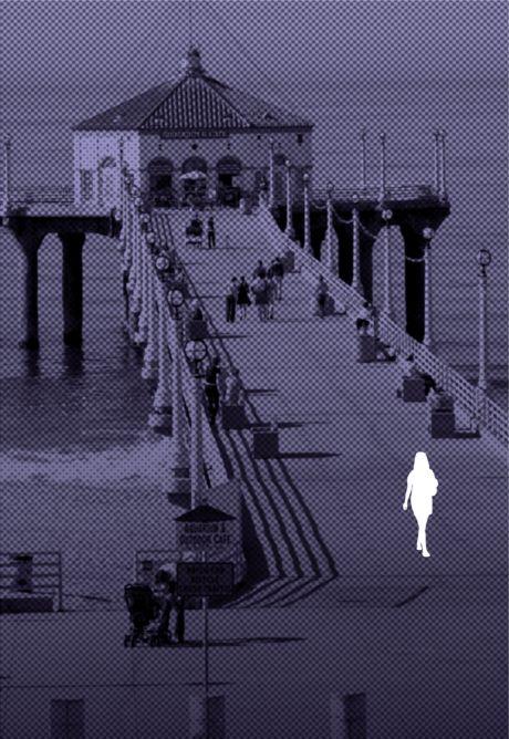 Outline of a woman on Manhattan Beach, CA boardwalk