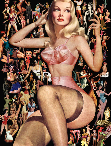 Collage of women from 60s in lingerie