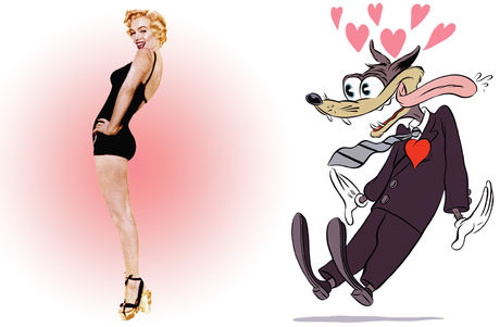 Male cartoon wolf gawking at Marilyn Monroe