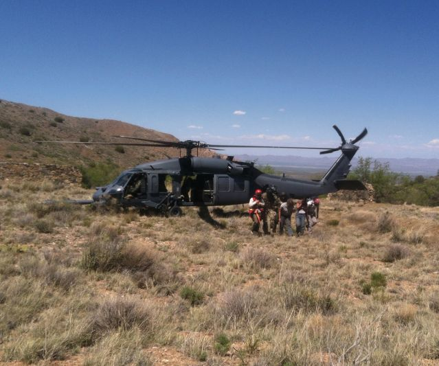 Helicopter in the desert rescuing McNally
