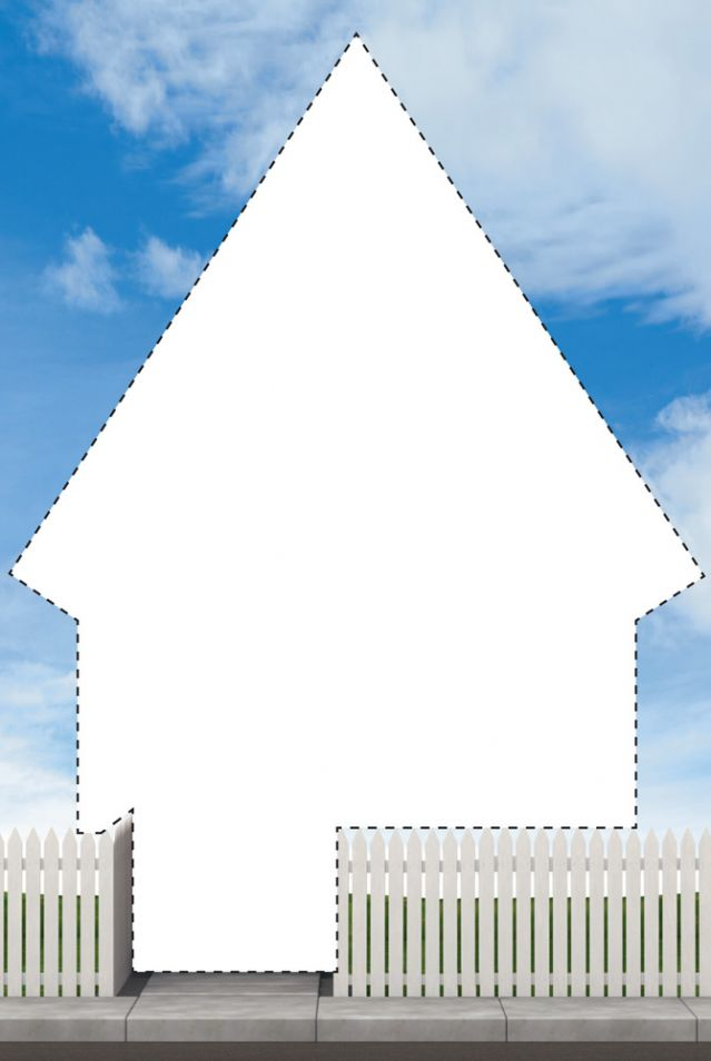 Cut out of a house with dotted line