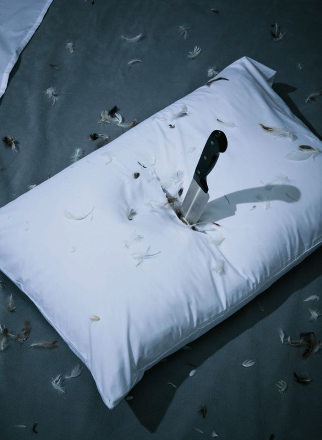 Chef knife in pillow