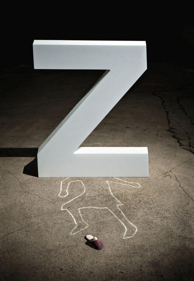 Letter Z over body chalking