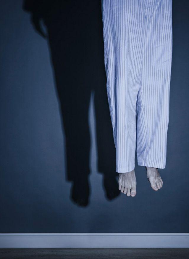 Hanged man in pajamas