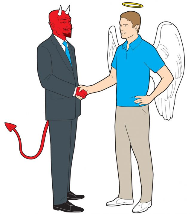 Devil boss shaking Angel employee's hand