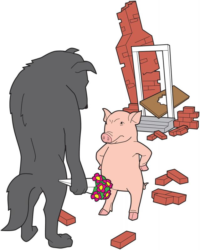 Big bad wolf apologizing to pig for wrecked house
