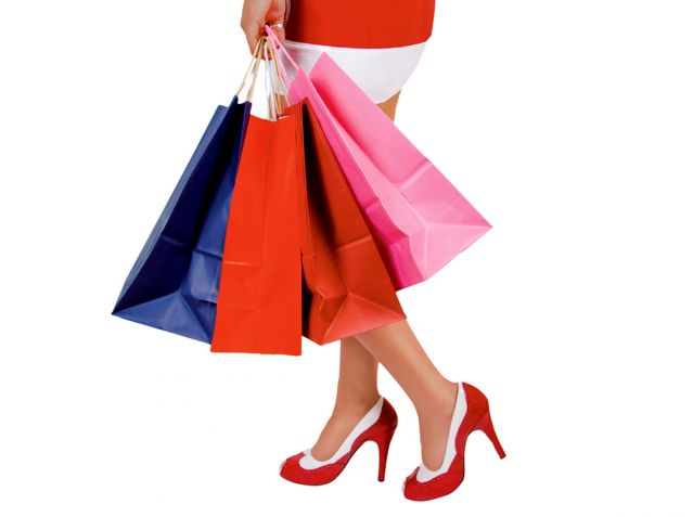 Lady w/ shopping bags in stillettos