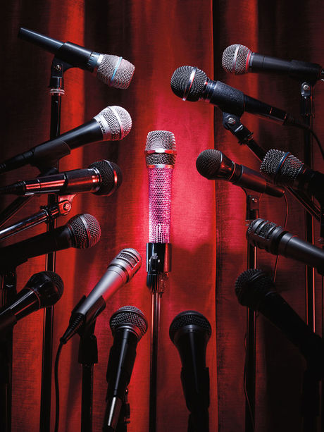 Red curtain with microphones