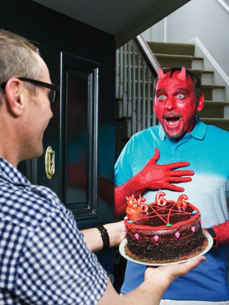 Man gifting his devil neighbor with a 666 cake