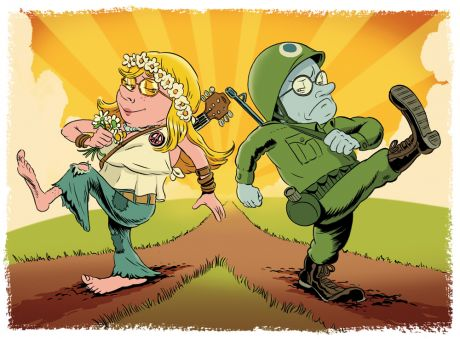 Illustration - Hippy girl and soldier march separate ways