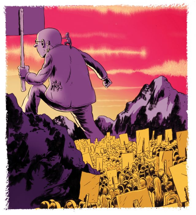 Illustration - Giant man with 100x smaller men march for a cause
