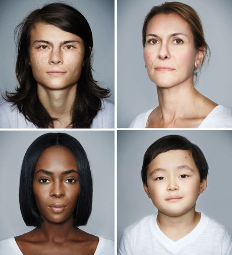 Four portraits of mixed-race individuals