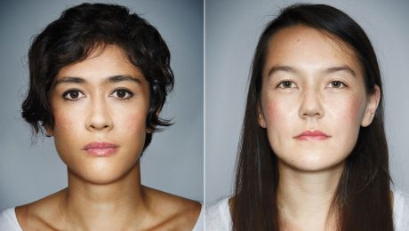 2 portraits of mixed race individuals