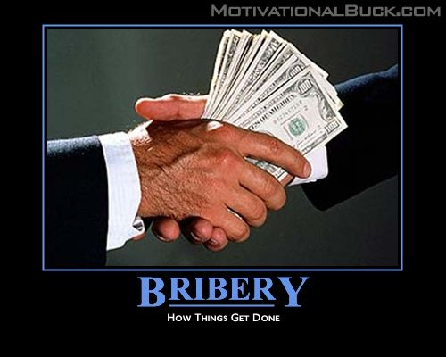does bribery help or hurt The difference is that bribery offers a positive reward for compliance (do this for me and i'll do that for you), whereas extortion uses threats of violence or other negative acts in exchange for compliance (do this for me or else i'll hurt you).
