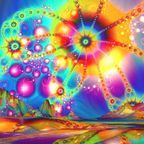 Kaleidoscopic geometric patterns are typical of DMT visions.