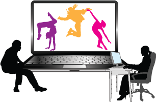 Ordinary person sitting at a computer; colorful figures dancing on screen