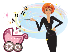 Fairy godmother waves her wand above a baby carriage, gifting the letters ADHD