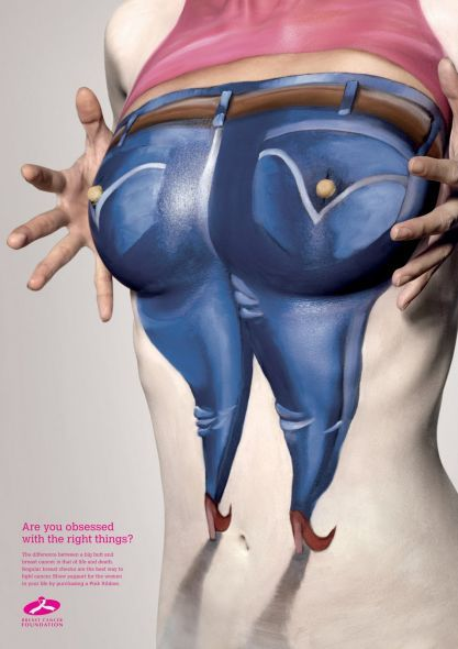 Breast Cancer Foundation series from Singapore featuring painted women's bodies.