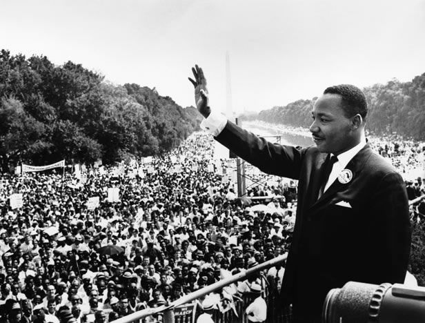 28 Aug 1963, Washington, DC - Martin Luther King, Jr. waves to participants