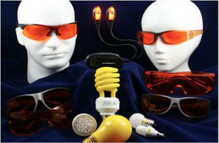 LowBlueLights glasses and lamps.  Eliminates the entire blue range of melanopsin