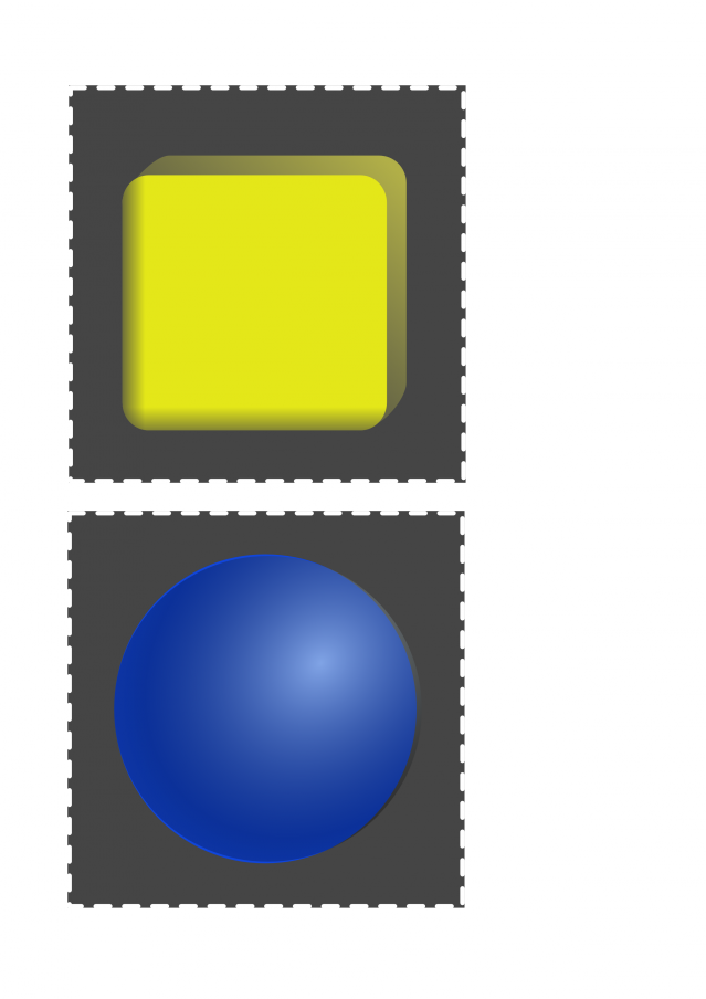 Blue sphere and yellow cube