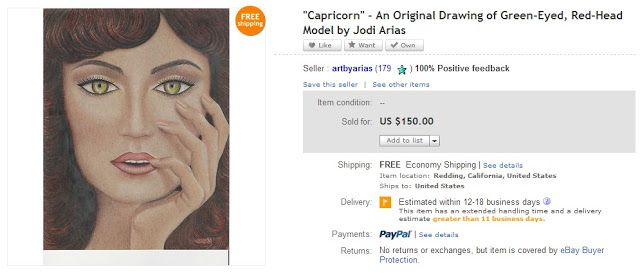 An eBay page of one of Arias' drawings
