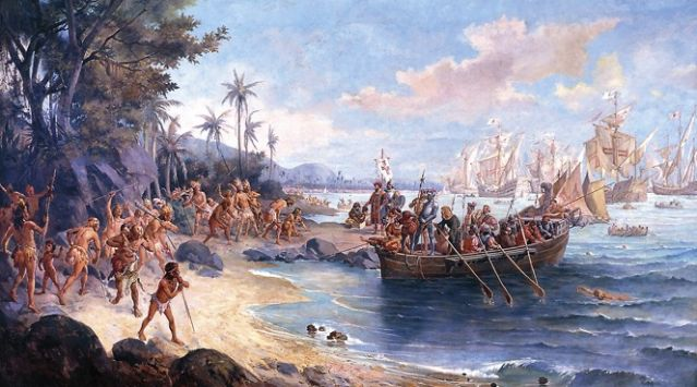 Romantic depiction of Cabral's first landing on the Island of the True Cross (Br