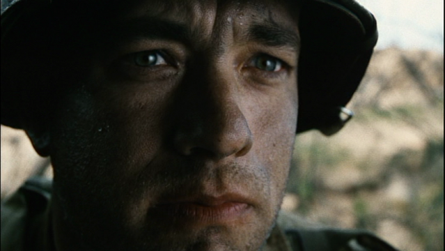 Extreme close-up of Tom Hanks as Captain Miller in Saving Private Ryan