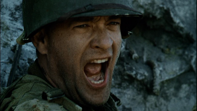 close-up of Tom Hanks as Captain Miller in Saving Private Ryan