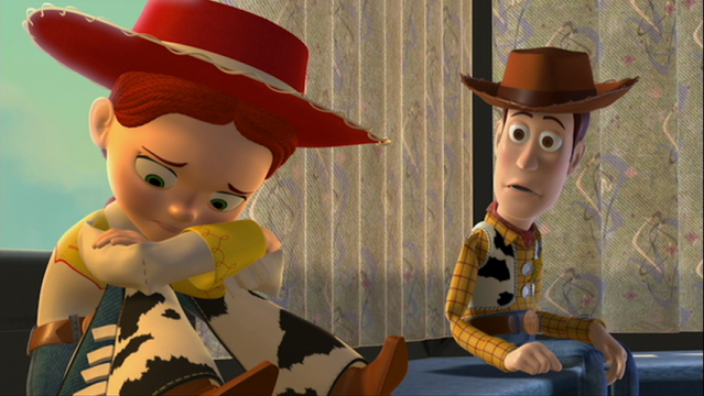 Jessie and Woody in Toy Story 2, Woody showing empathy for Jessie's abandonment