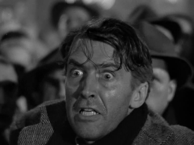 close-up Jimmy Stewart as George Bailey in 'It's a Wonderful Life', desperate