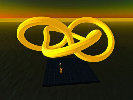 A small person views a large yellow knot